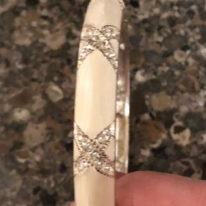White Bangle Bracelet with Kiss in CZ